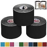 BB Sport 3 Rollos Cinta Kinesiología Tape 5 m x 5 cm Cinta Muscular E- Book Ejemplos Aplicación, Color:negro