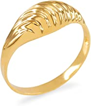 Modern Contemporary Rings Glamorous Ribbed Dome Ring in 10k Yellow Gold