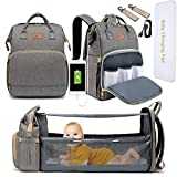DEBUG Baby Diaper Bag Backpack with Foldable Crib, Diaper Bags Baby Bag with Changing Station for Baby Boy Girl,Waterproof Large Capacity Travel Diaper Bag with USB Charging Port for Dad Mom, Grey