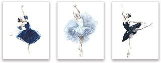 Kairne Watercolor Ballerina Art Print, Elegant Ballet Dancer Wall Art Poster, Set of 3(8
