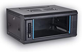 [Assembled] KENUCO IT Network Server Data Devices Rack Deluxe IT Wall Mount Cabinet Enclosure 19-Inch Server Network Rack with Locking Door 16-Inches Deep Black (23.6'' x 17.7'' x 4U)