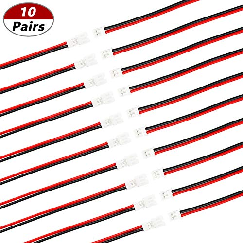 mxuteuk 10 Pairs 22 AWG 2 Pin Tiny Whoop JST PH 2.0 Connector Plug Cable Wire Male Female for Blade Inductrix 100mm JST-PH2.0