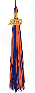 [2019 Upgrade]HEPNA Uniforms Graduation Cap Tassel for Graduation Photograghy,Double Color Royal Blue/Orange,2019 Year Charm