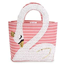 White Swan Lake Kids Baby Girl Sequin Jute Tote
