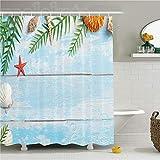ZLWSSA 3D Wasserdicht Duschvorhang Muscheln Dekor Set Sommerstern Fisch Muschel Tropic Pflanzen Blätter Algen Nautisch Auf Boot 180x200cm