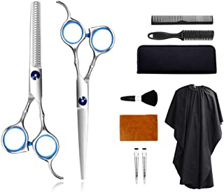 Hair Cutting Scissors Kits Stainless Steel Shears 10 PCS Hair Cutting Set Thinning Scissors Bang Hair Scissor Professional Barber Salon Home Shears Kit For Men Women and Pet