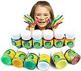 Magicdo Kinder Fingerfarben 12 Farben waschbar und ungiftig Kleinkind Paint Set, natürliche Wasser-basierte und umweltfreundliche helle Malerei für Kinder DIY, Kunsthandwerk Malerei (12-er Set)