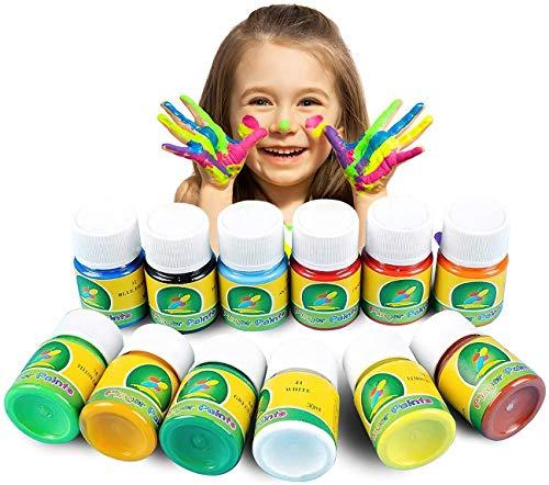 Magicdo Kinder Fingerfarben 12 Farben waschbar und ungiftig Kleinkind Paint Set,...