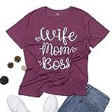 Women T-Shirt of Wife Mom Boss Shirt Graphic Tees Short Sleeve Basic Top Dark Purple