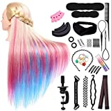 Cabeza de Maniquí Peluqeuría, Vibury 26-28' Cabeza de Entrenamiento para Peluqueros, Colorido Practicas Formación Muñeca de la Cosmetología con Soporte + Accesorios de Peinado Kit Set