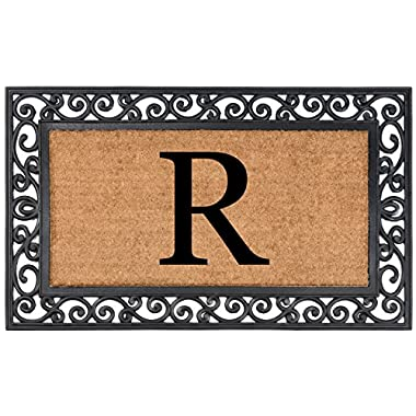 Nance Industries Heavy Duty Monogrammed Natural Coir Rubber In Lay Welcome Mat, Letter R, 24-Inch By 36-Inch