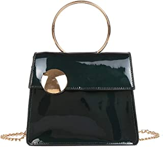Wultia - Bags for Women Men 2019Women Large Button Crossbody Bag Fashion Patent Leather Chain Bag Bolsa Feminina Green