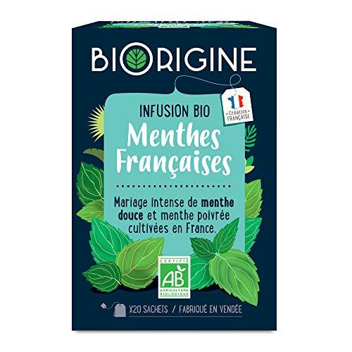 BiOrigine – Infusion bio Menthes françaises – Menthe douce & Menthe poivrée - plaisir rafraîchissant – Produit naturel et fabriqué en France – 20 sachets
