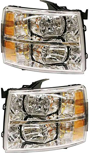 Headlight Set Compatible with 2007-2014 Chevrolet Silverado 3500 HD 2500 Left Driver and Right Passenger Side Halogen With bulb(s) CAPA Certified