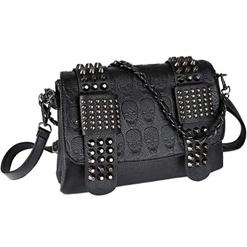 Vbiger Handtaschen Damen Leder PU Umhängetasche Damen Schultertasche Handtasche Damen Skull Tasche mit Nieten Punk Rock Schwarz