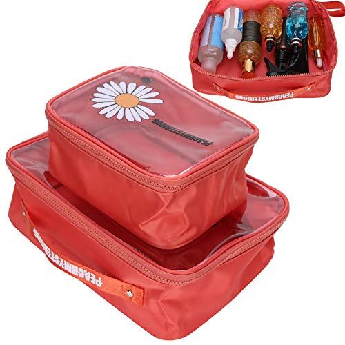 Estuche de maquillaje portátil 2 piezas Bolsa de almacenamiento de maquillaje para uso de viaje para uso doméstico para uso de maquillaje para almacenamiento(red)