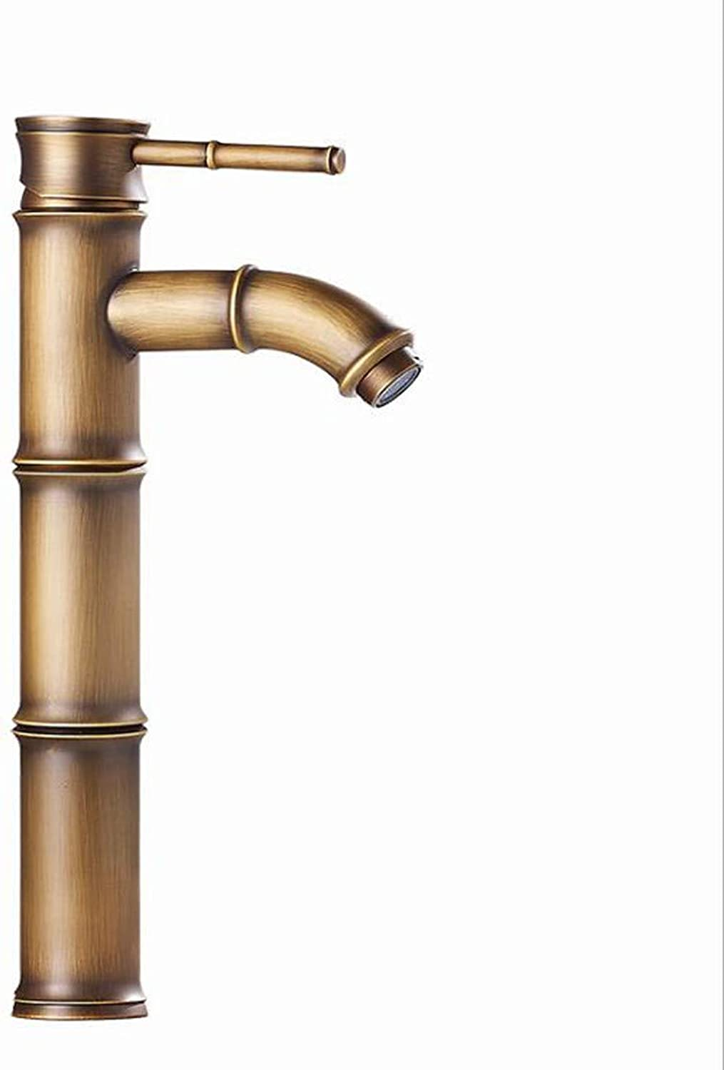 KAIDEFI European Style All Copper Antique Bathroom Basin Faucet Cold And Hot Double Open Mixing Tap Creative Bamboo Sink Faucet Single Lift Lift Retro Faucet