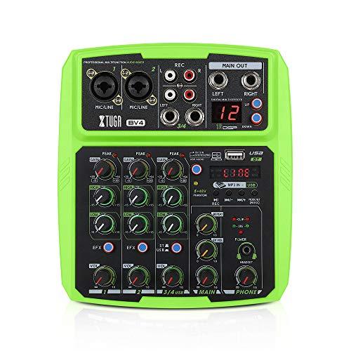 XTUGA BV4/BV6 Mezclador de audio colorido 4/6 canales multifuncional mini mezclador musical DJ, tarjeta de sonido incorporada, Bluetooth, USB, 16DSP, 48V potencia Phantom para grabación de PC(BV4)