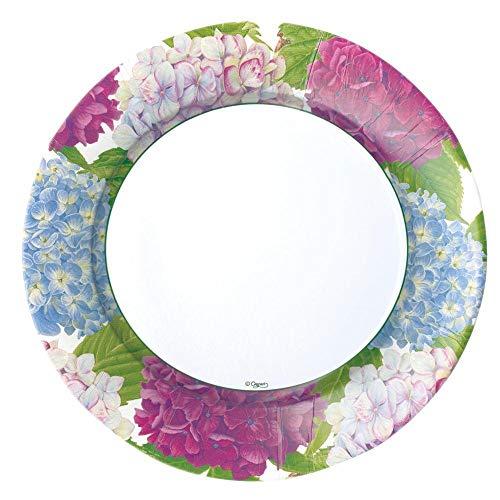 Entertaining with Caspari - Piatti di carta per cena, motivo: ortensia, confezione da 8, 25,4 x 3 x 25,4 cm, colore: Blu