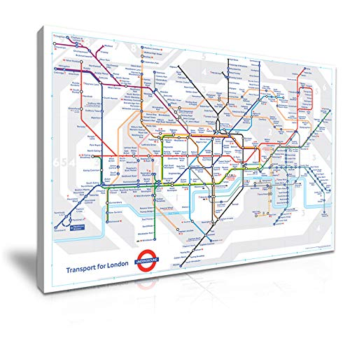 Londen Tube Kaart Stretched Canvas Wall Art Picture Print 76x50cm