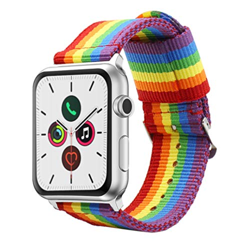 Estuyoya - Pulsera de Nailon Compatible con Apple Watch Colores Orgullo Gay LGBT Ajustable Reemplazo Estilo Deportiva Casual Elegante para 42mm 44mm Series 5/4 / 3/2 / 1 Nike+ Todos los Modelos