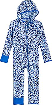 Coolibar UPF 50+ Baby Flipper 360 Coverage Swimsuit - Sun Protective  12-18 Months- Marlin Blue Fish Mosaic