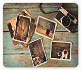 Ambesonne Collage Mouse Pad, Retro Polaroid Photo Camera Warm Mug and Colorful Christmas Themed Frames, Rectangle Non-Slip Rubber Mousepad, Standard Size, Multicolor