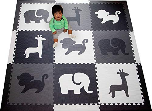 SoftTiles Kids Foam Play Mat - Safari Animals Theme- Nontoxic Puzzle Play Mats for Children's...