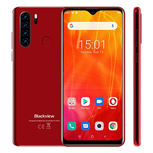 Blackview A80 Plus Smartphone ohne Vertrag, Android 10 Handy, 6,49 Zoll HD + Display, 4GB+64GB, 13MP+8MP Quad Kamera, 4680 mAh Akku, Dual SIM Smartphone 4G, GPS, Rot
