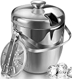Jozo Ice Bucket Insulated with Tongs and Lids 3.4 Quarts for Parties and Bar, Stainless Steel Double...