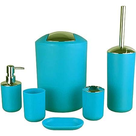 GMMH ENSEMBLE DE SALLE DE BAIN 6 PIÈCES ACCESSOIRES DE SALLE DE BAIN Set DISTRIBUTEUR DE SAVON Support WC BRUSH BATH SET (design bleu clair 2)