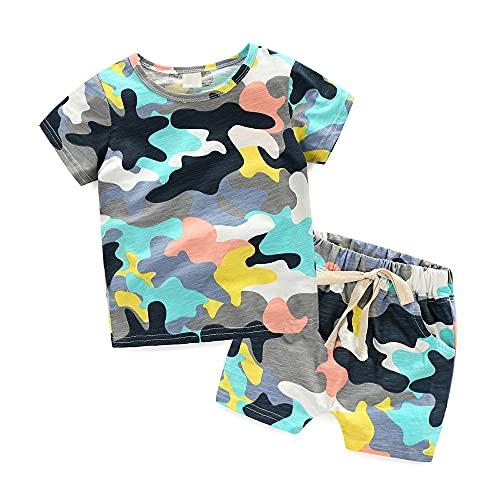 Junge Tarnung Sommerkleidung Sets Elastic Force T-Shirt + Shorts Baby Kinder Zwei Stück Anzug Kinderkleidung(A,4T)
