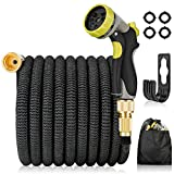 PHYSEN Expandable Garden Hose 50FT Leakproof Lightweight Water Hose with 8 Functions Spray Nozzle, Durable 3 Layers Latex Core, No Kink Gardening Flexible Hose Pipe, 3/4' 1/2' Solid Brass Connectors