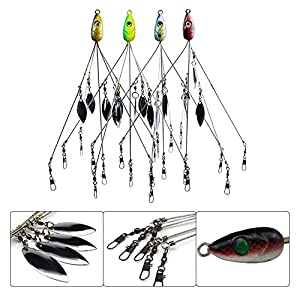 Boulevard Customs 5 Arms Alabama Umbrella Rigs with Barrel Swivels Ultralight Fishing Lures Bait Rigs for Bass Lures (4 Pcs)