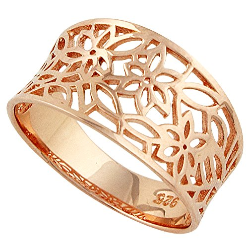 CloseoutWarehouse Sterling Silver Rose Gold-Tone Plated Victorian Style Leaf Filigree Vintage Ring Size 15