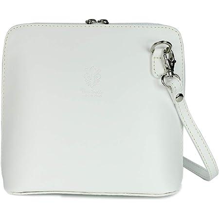 Belli italienische Ledertasche Damen Umhängetasche klein Handtasche Schultertasche Abendtasche in weiß - 17x16,5x8,5 cm (B x H x T)