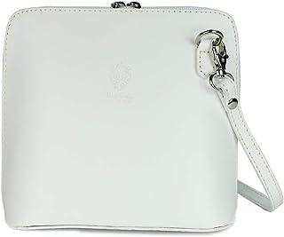 Belli italienische Ledertasche Damen Umhängetasche klein Handtasche Schultertasche Abendtasche in weiß - 17x16,5x8,5 cm (B...