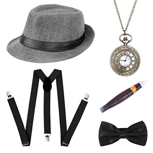 BOER 1920s Herren Accessoires - Gatsby Kostümzubehör Set Mit Panama Gangster Hut Verstellbar Y-Back-Hosenträger Fliege Halsschleife Taschenuhr Und Plastik-Zigarre (Grau)