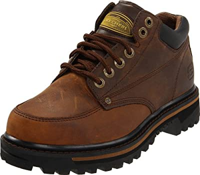 Skechers USA Men's Mariner Utility Boot,Dark Brown,7.5 EE - Wide