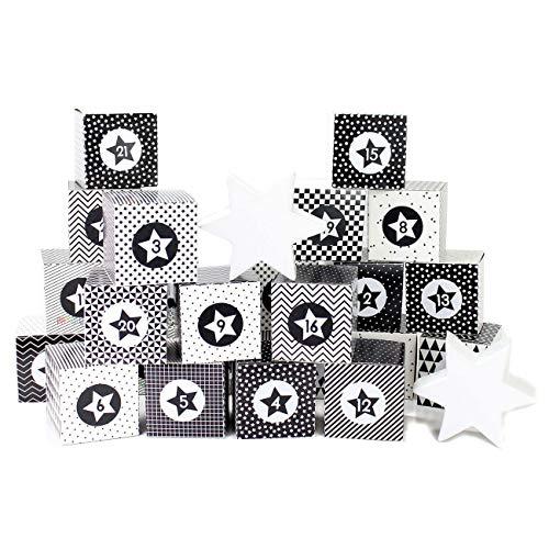Papierdrachen Juego de Cajas para Calendario de Adviento DIY – 24 Cajas en Blanco y Negro para exponer y Rellenar – 24 Cajas - Monocromo