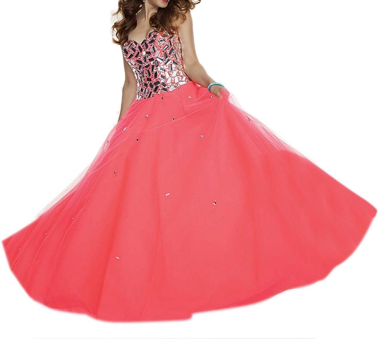 Dearta Women's ALine Princess Sweetheart FloorLength Organza Prom Dresses