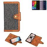 K-S-Trade® Handy-Hülle Für LG Electronics Q7 Alfa Schutz-Hülle Filz-Hülle Kunst-Leder Dunkelgrau Braun (1x)