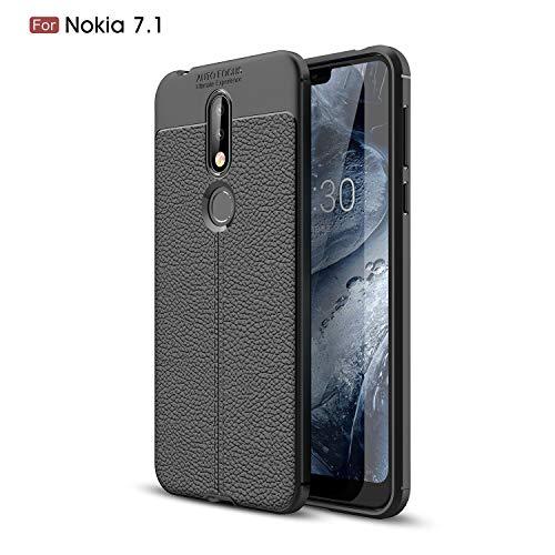 Capa para Nokia 7.1, capa fina flexível Cruzerlite com padrão de aderência de textura de couro e capa de TPU com absorção de choque para Nokia 7.1 (2018), Preto