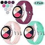 Vobafe Correa Compatible con Samsung Galaxy Watch Active/Active 2 (40mm/44mm), Correas de Repuesto de Silicona Suave con Cierre para Galaxy Watch 3 41mm/Gear Sport, L Rosa/Vino Rojo/Aqua