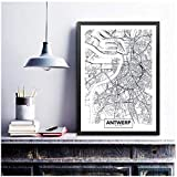 xiongda Wandkunst Dekor Antwerpen Stadtplan Poster Leinwand