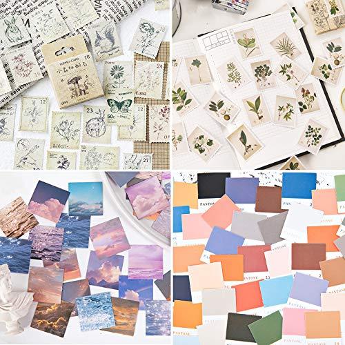 4 Boxen Vintage Aufkleber Stempel Scrapbooking Aufkleber für Scrapbook Kalender Notizbuch Tagebuch Fotoalbum DIY Dekoration, 44mm x 44mm, Briefmarken, Farbkarten, Landschaften