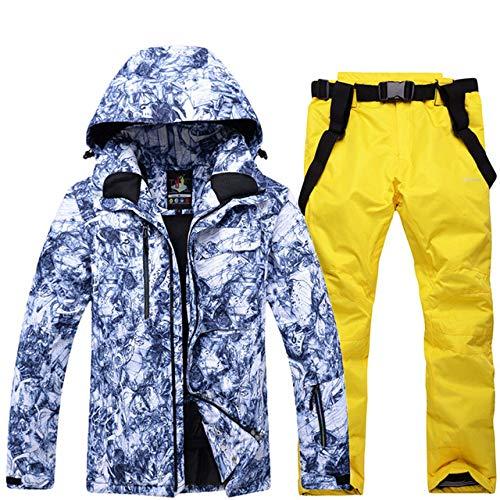 JSGJHXFNew Skipak voor heren, super warm, waterdicht, winddicht, sneeuwbroekpak, heren, skiën snowboardsets