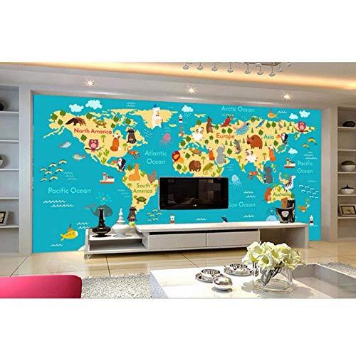 3D wandbehang, wereldkaart dieren tekening wandschilderijen 3D wandbehang woonkamer 3 D 280 cm (L) x 180 cm (H)