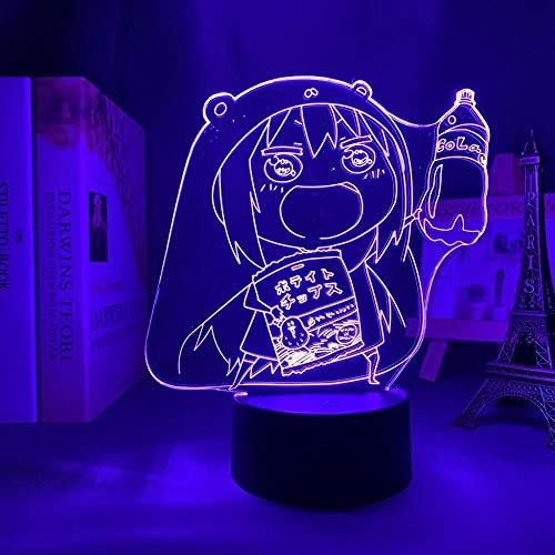 Lámpara LED 3D ilusión ilusión lámpara de escritorio japonesa luz Himouto Umaru Chan lamp,para niños Dormitorio Decoración Luz nocturna de cumpleaños Anime Gadget