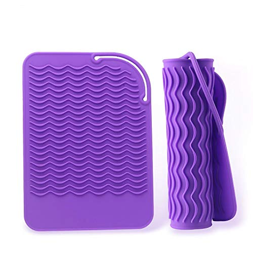 Heart-shaped wave silicone hair straightener insulation pad non-slip anti-scalding silicone placemat bowl mat pot mat purple